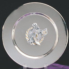 "10""DIA SILVER PLATE WITH GOLF MEDALLION-ITEM#1005"