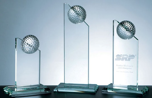 "10 1/2""H GOLF PINNACLE GLASS AWARD---ITEM#1157L"