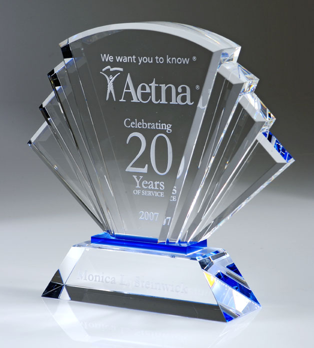 "8"" HIGH CRYSTAL FAN AWARD--ITEM#1149"