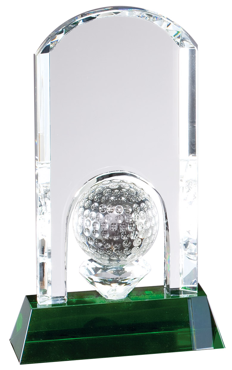 "10"" H OPTIC CRYSTAL GOLF AWARD--ITEM#1173L"