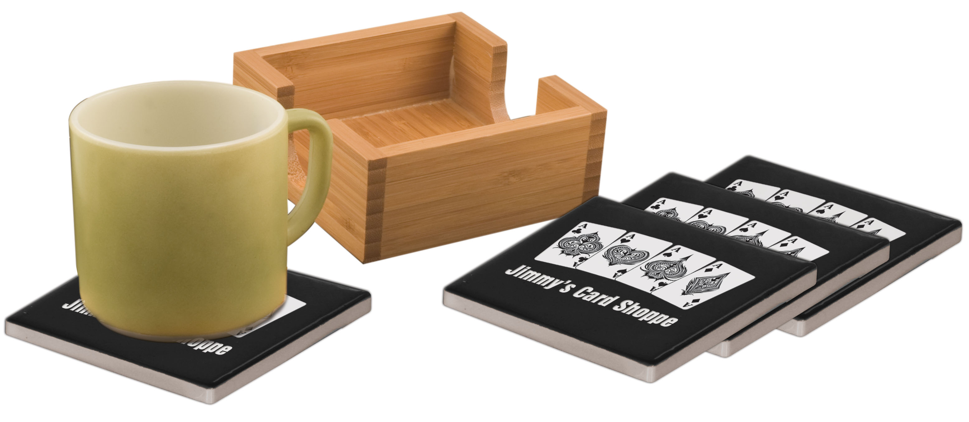 CERAMIC COASTERS WITH HOLDER--ITEM#1193BLK
