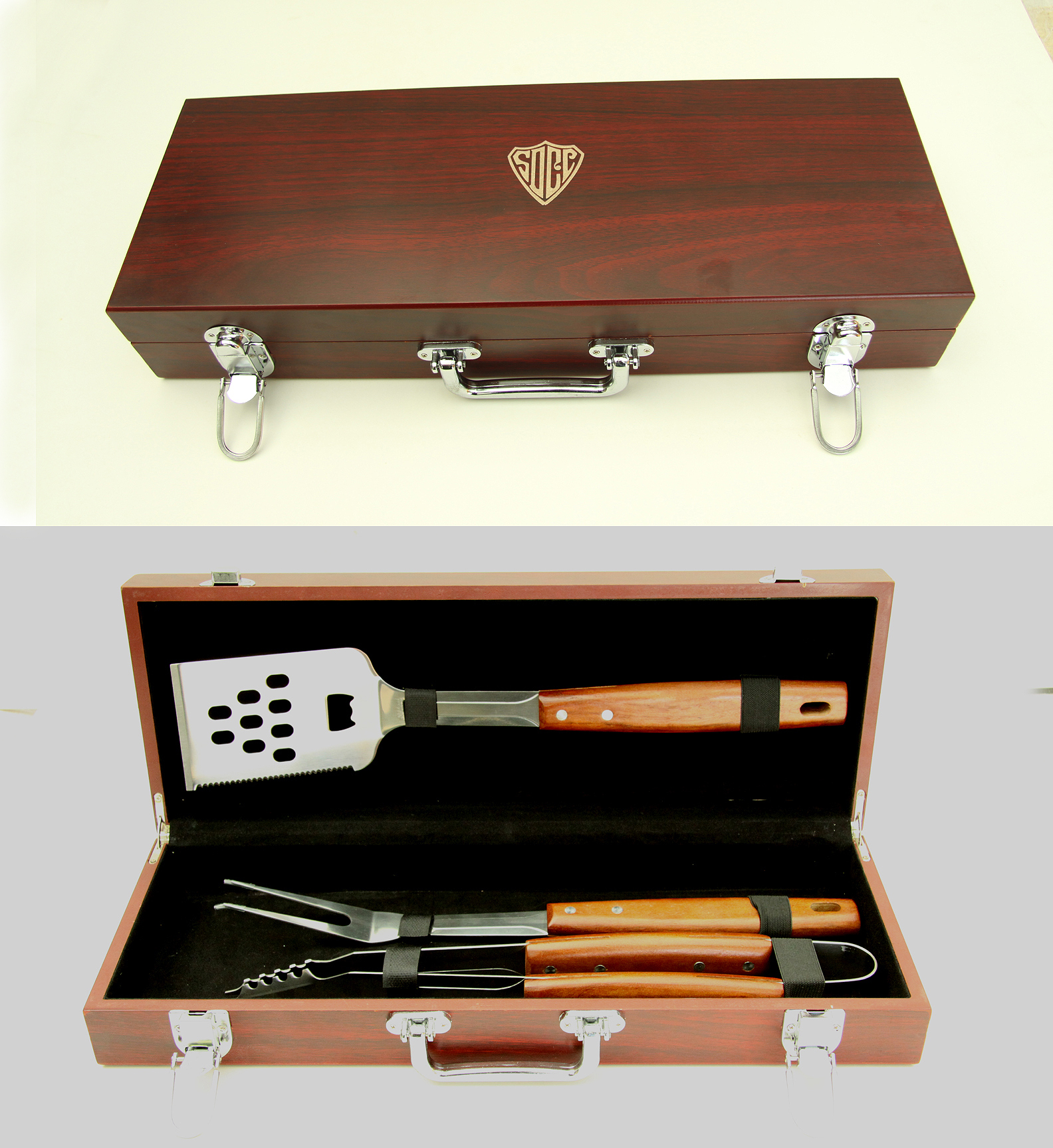 BBQ SET WOOD GIFT BOX..ITEM#1217