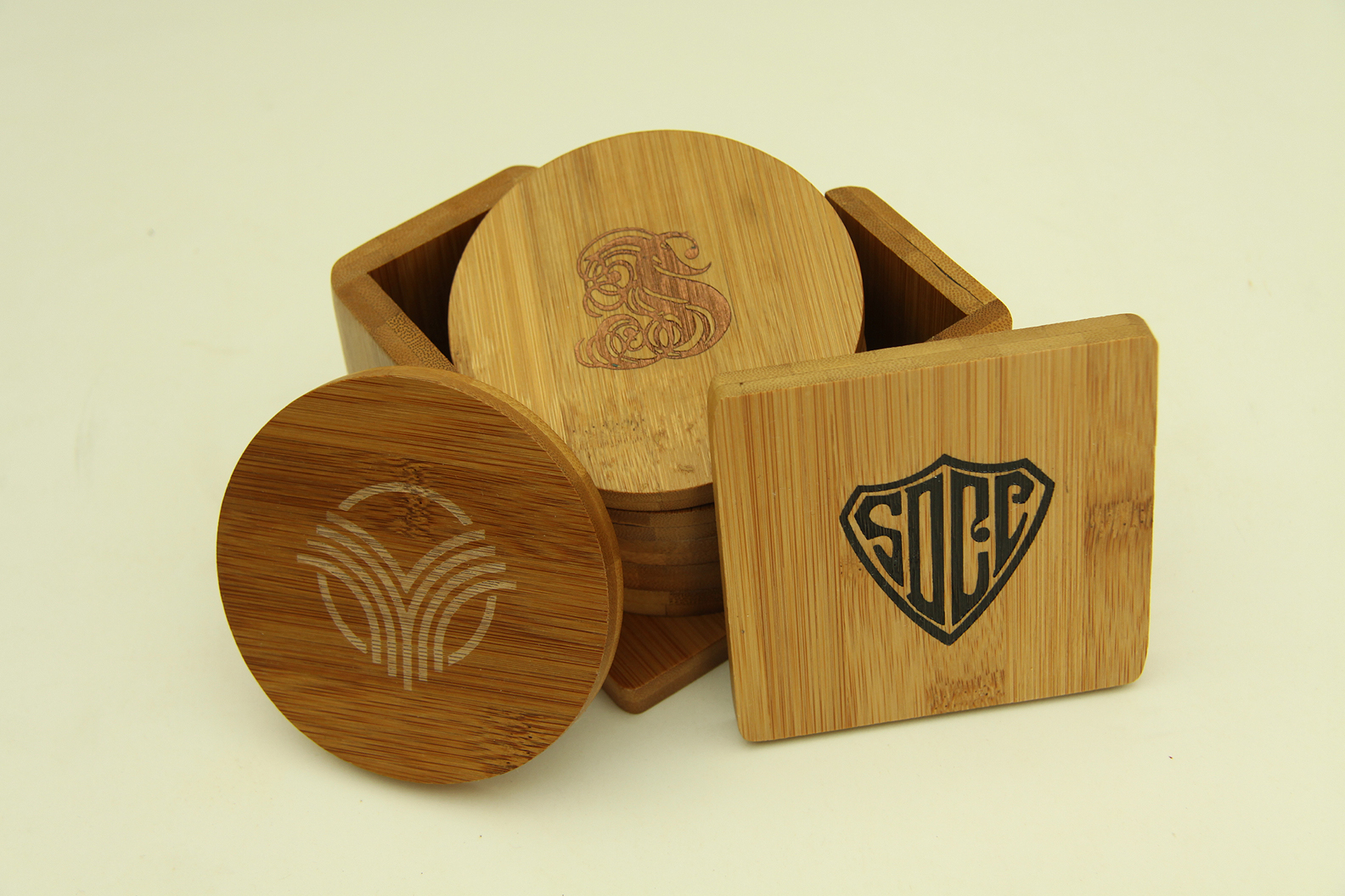6 PIECE BAMBOO COASTER SET--ITEM#1218S