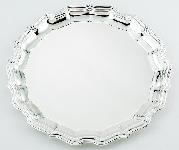 "14"" DIA CHIPPENDALE SILVER TRAY--ITEM#305XL"
