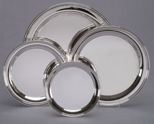 "14"" DIA PLAIN SILVER TRAY--ITEM#306XL"