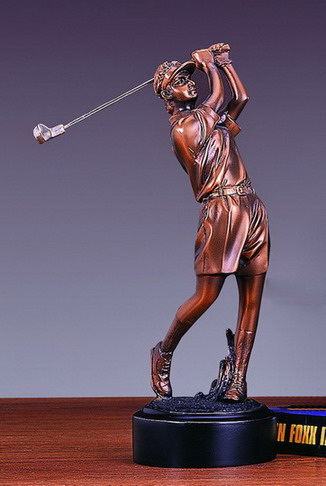 "8""H FEMALE BRONZE GOLFER--ITEM#4016"