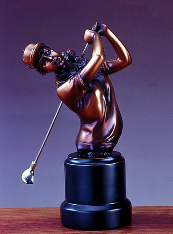 7 BRONZE FEMALE GOLFER--ITEM#4020