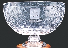 "9"" CRYSTAL OVAL GOLF BALL BOWL--ITEM#912L"